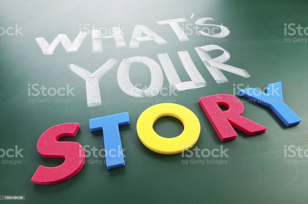 What's your story? Written on a green blackboard royalty-free stock photo