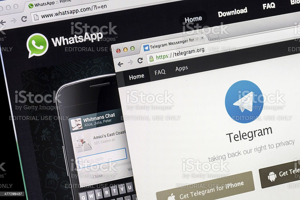 WhatsApp and Telegram webpage on browser stock photo