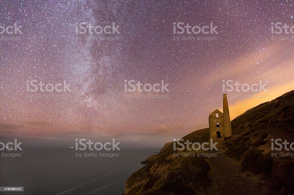 Wheal Coates Mine Ruin at Night stock photo