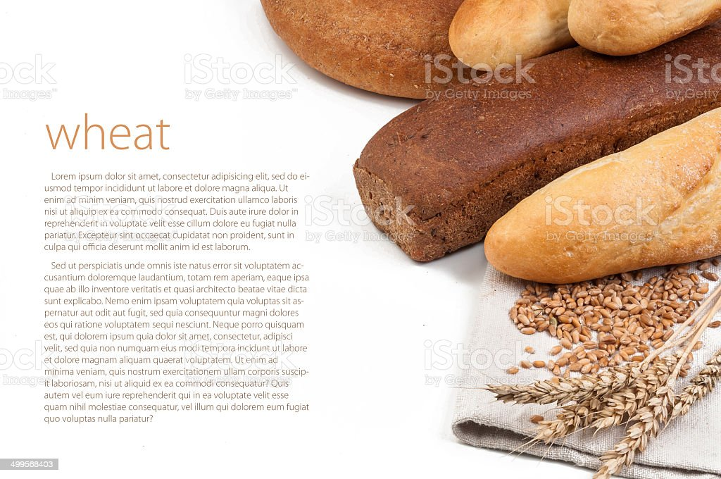 Wheat and bread stock photo