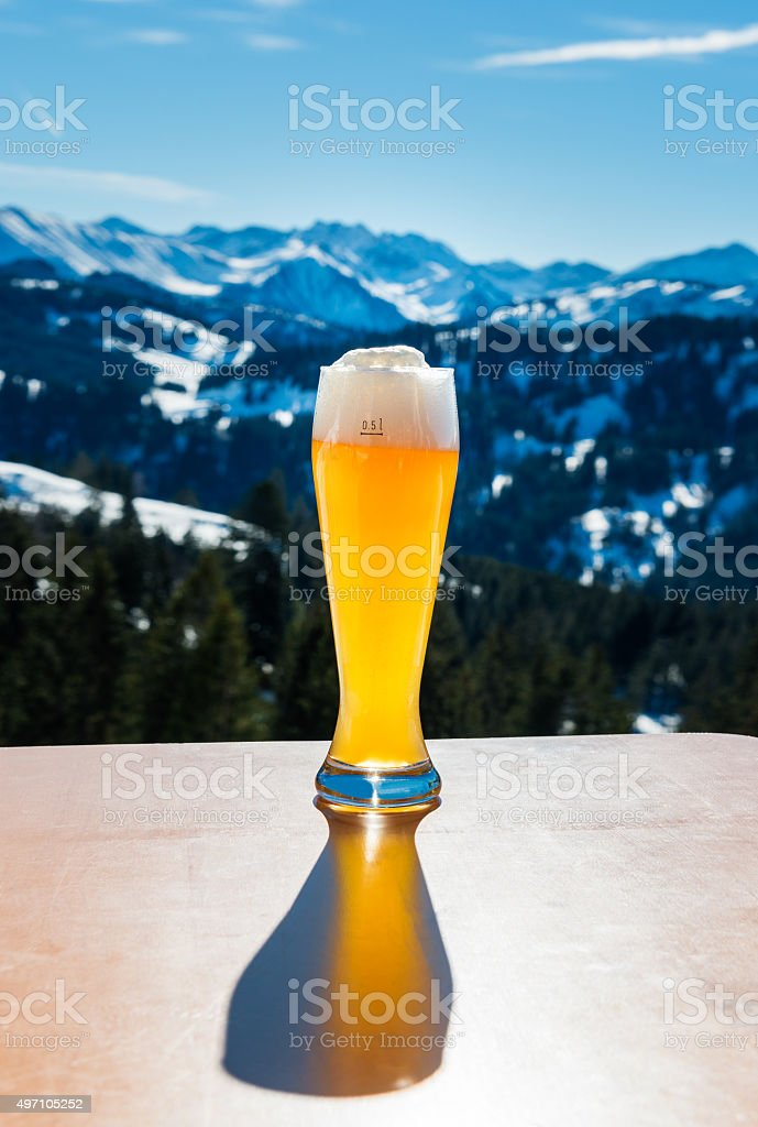 wheat beer in winter landscape stock photo