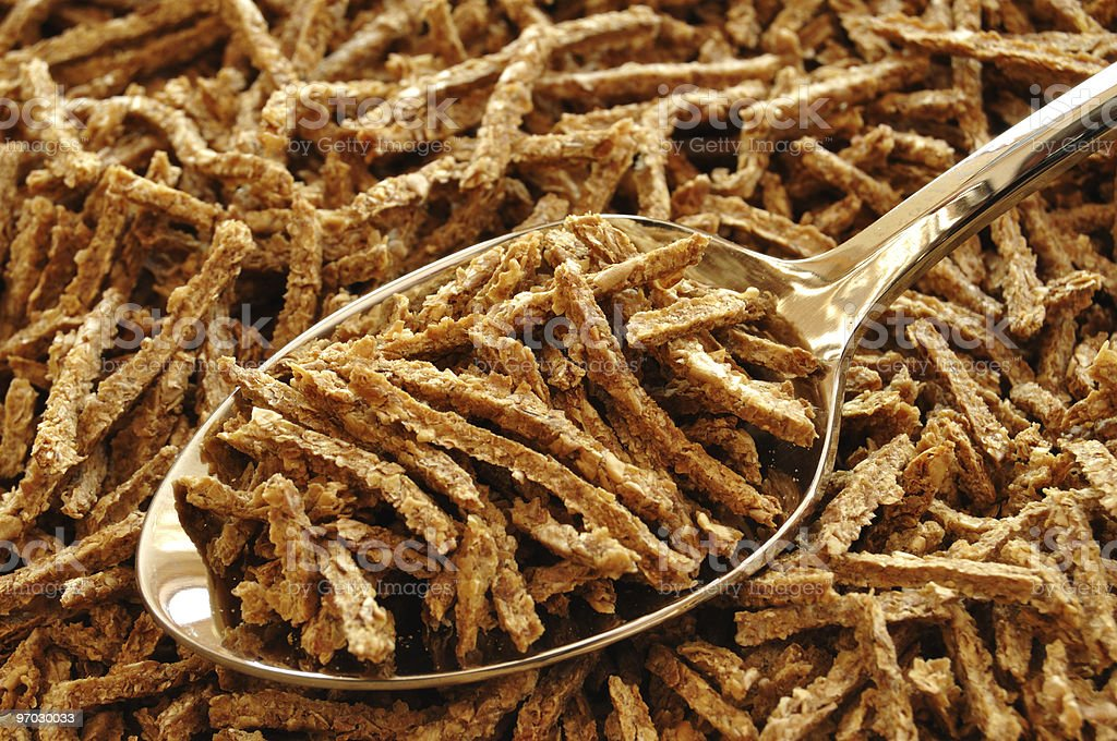 Wheat Bran Cereal on Spoon stock photo