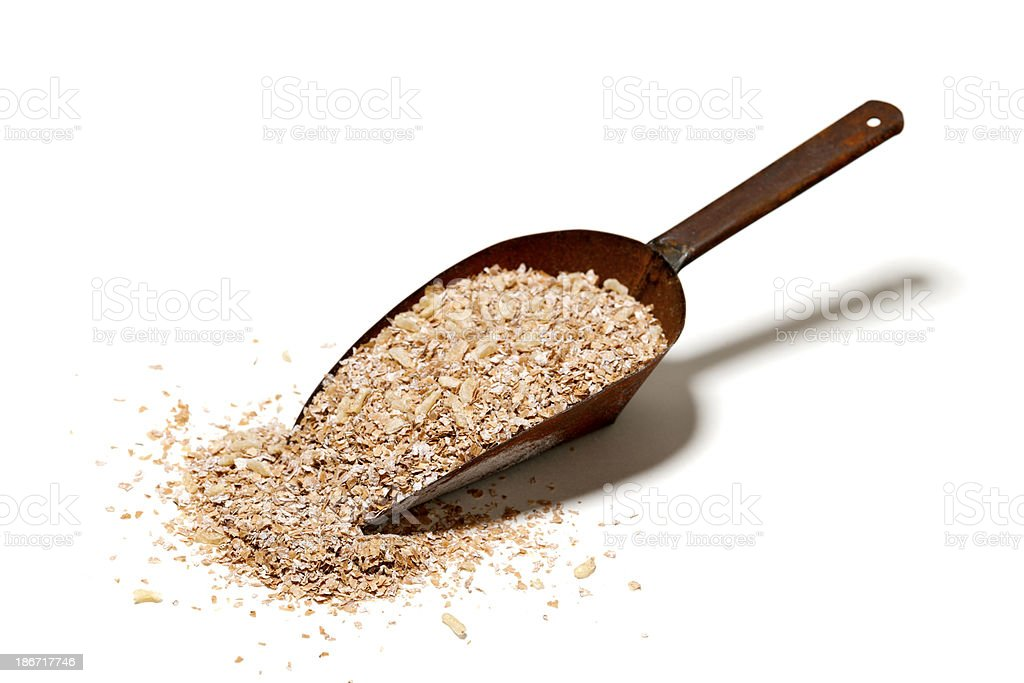 Wheat Bran in Metal Scoop stock photo