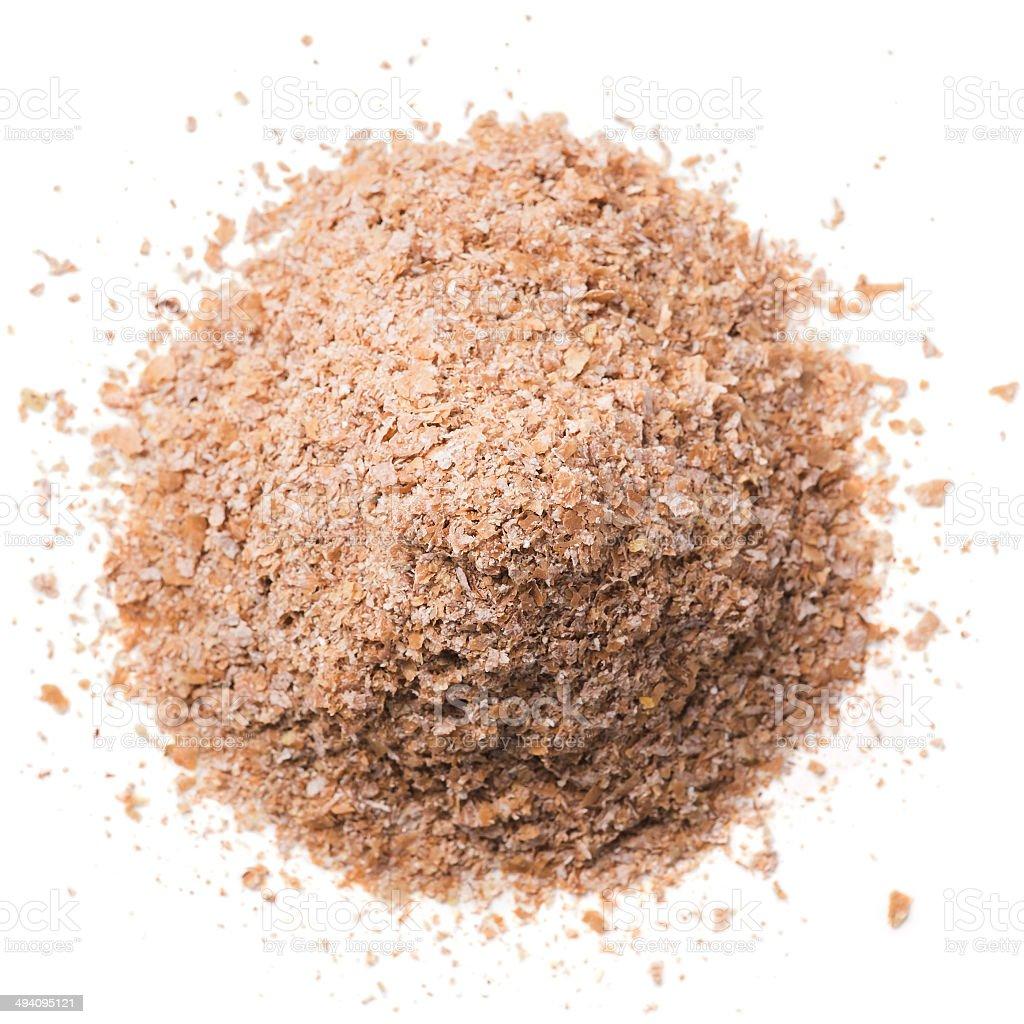 Wheat bran isolated on white background stock photo