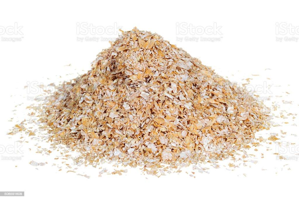 Wheat bran isolated on white stock photo