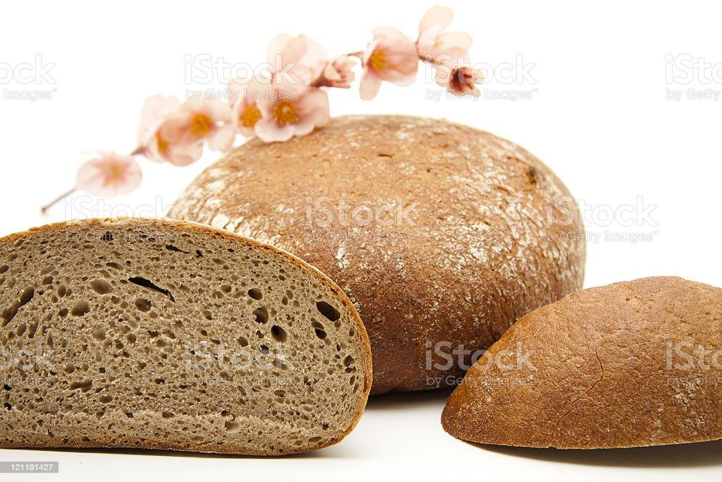 Wheat bread cut stock photo