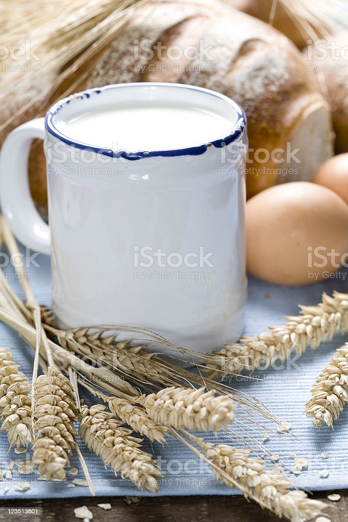 Wheat, bread, milk and eggs royalty-free stock photo