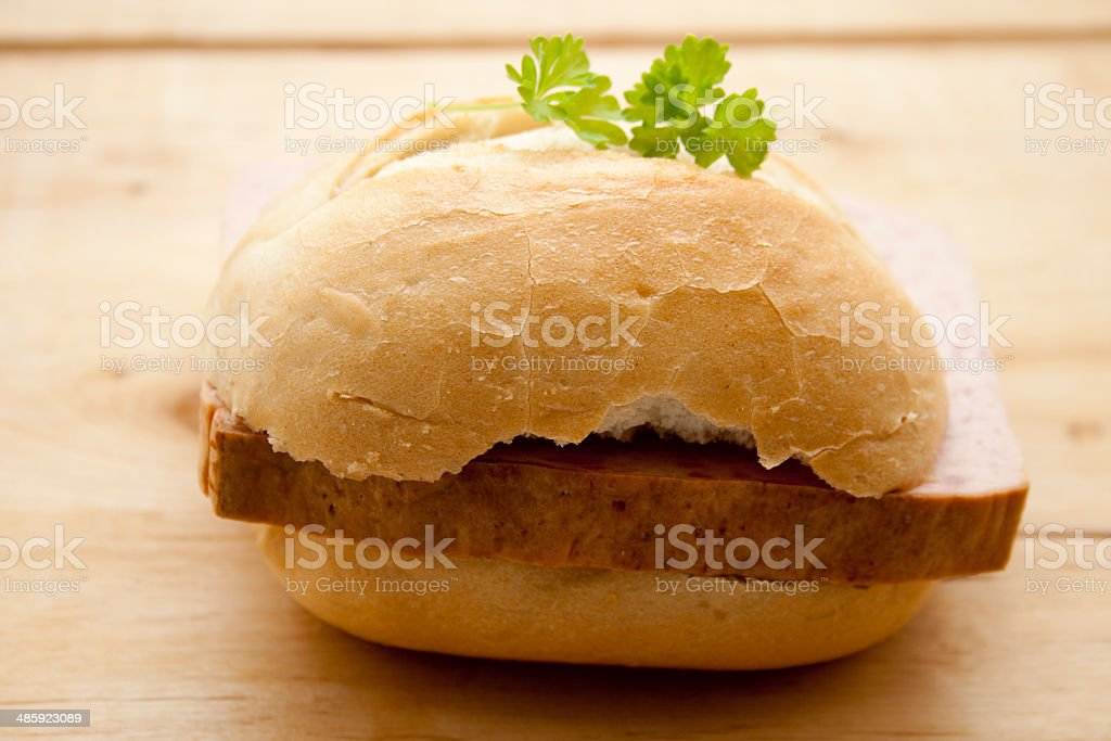 Wheat bread rolls with liver cheese stock photo