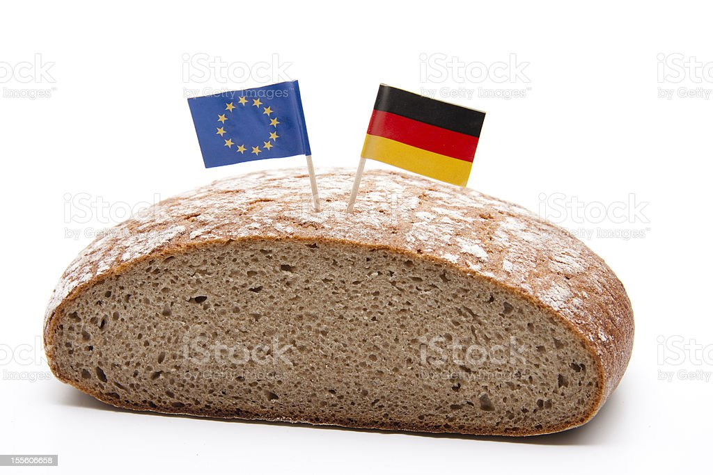 Wheat bread with flag stock photo