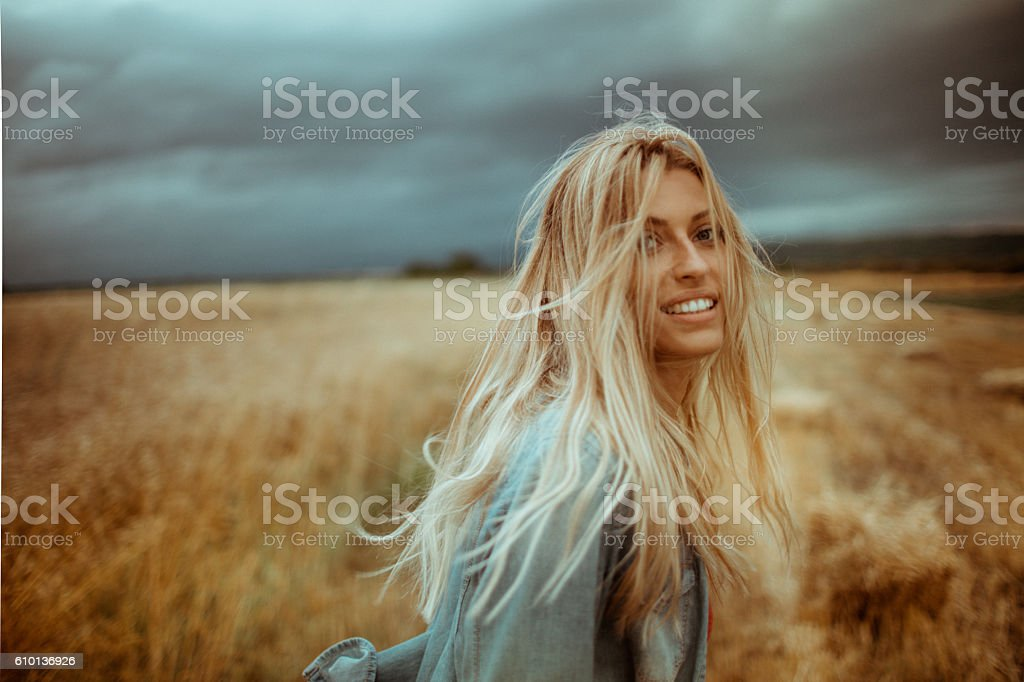 Wheat coloured hair stock photo