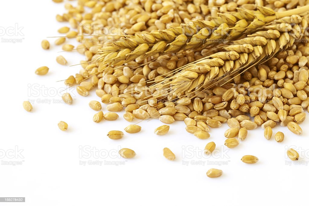 Wheat ears and seed stock photo