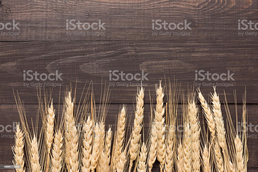 Wheat ears on the wooden background. Top view stock photo