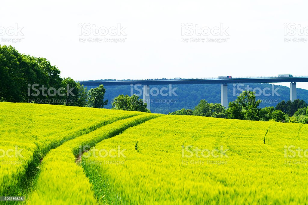 Wheat field and Ruhrtalbrücke stock photo