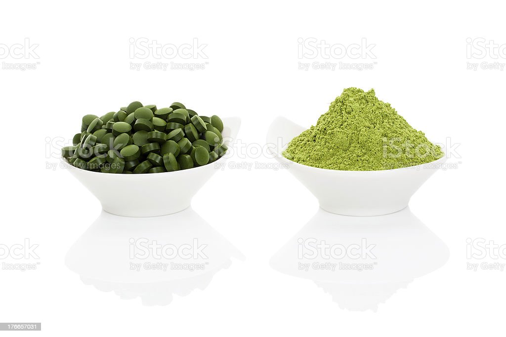 Wheat grass and spirulina. stock photo