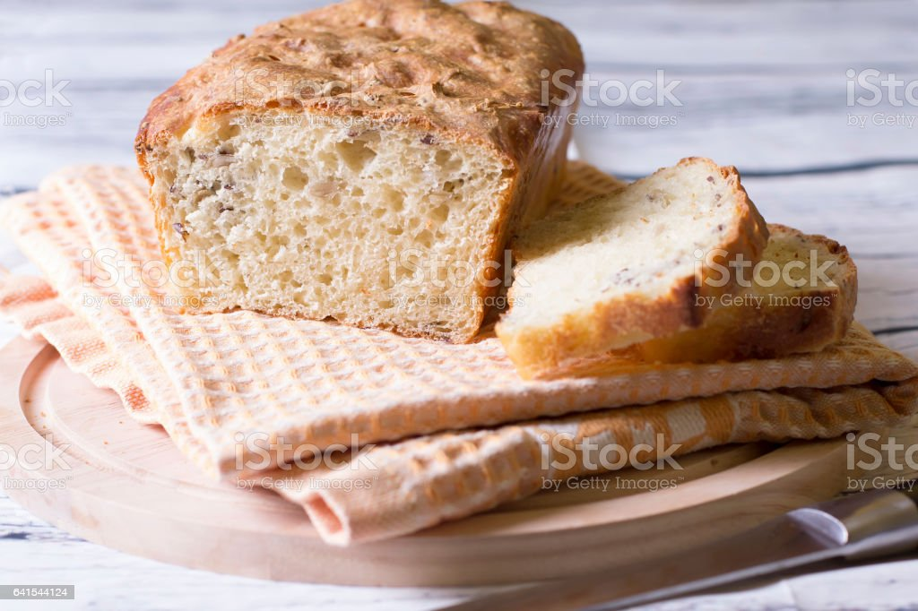 Wheat homemade fresh bread with seeds stock photo