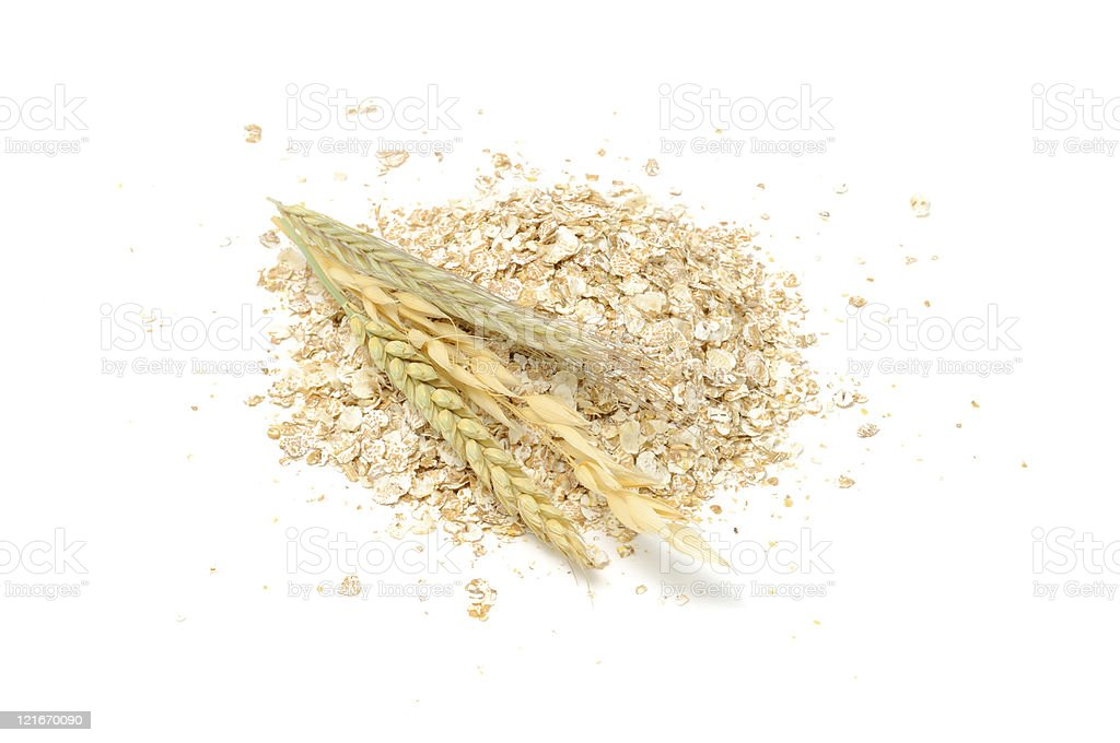 Wheat, Oat, Rye and Barley Flakes with Ears stock photo