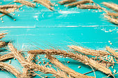 Wheat on turquoise table