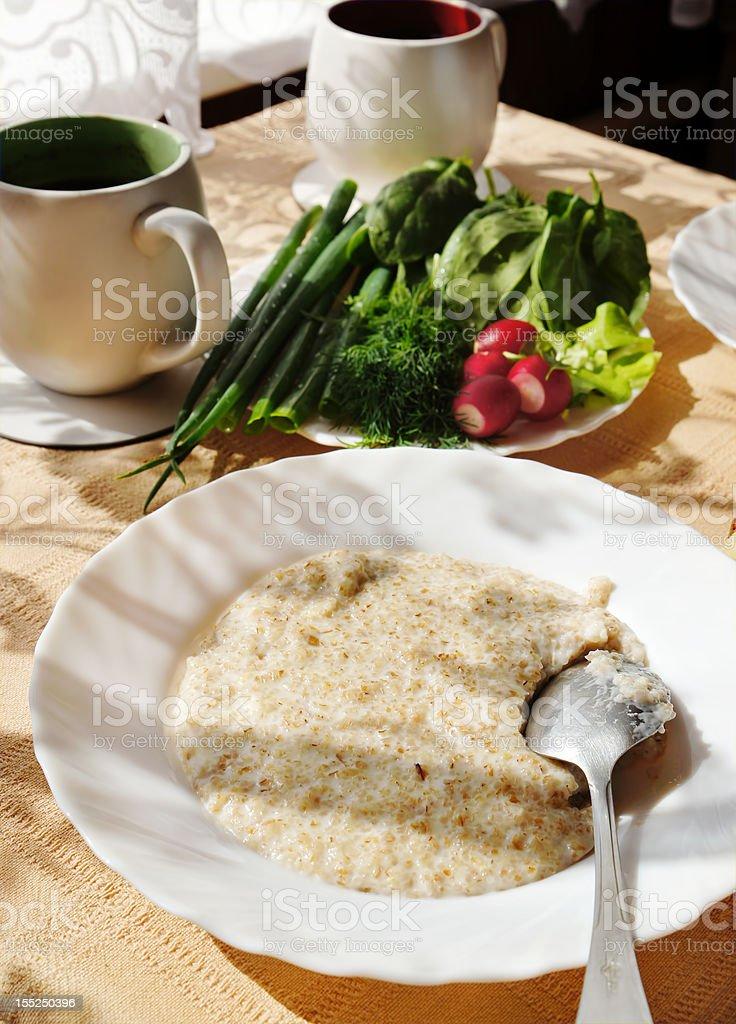 Wheat porridge on breakfast royalty-free stock photo