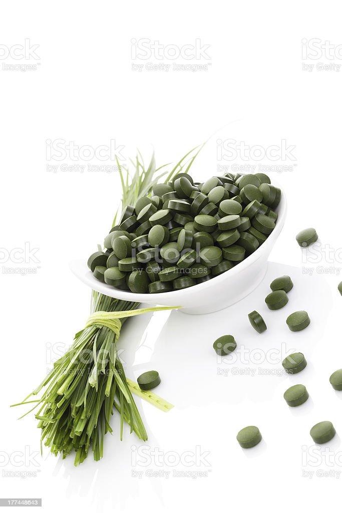 Wheatgrass and spirulina. royalty-free stock photo