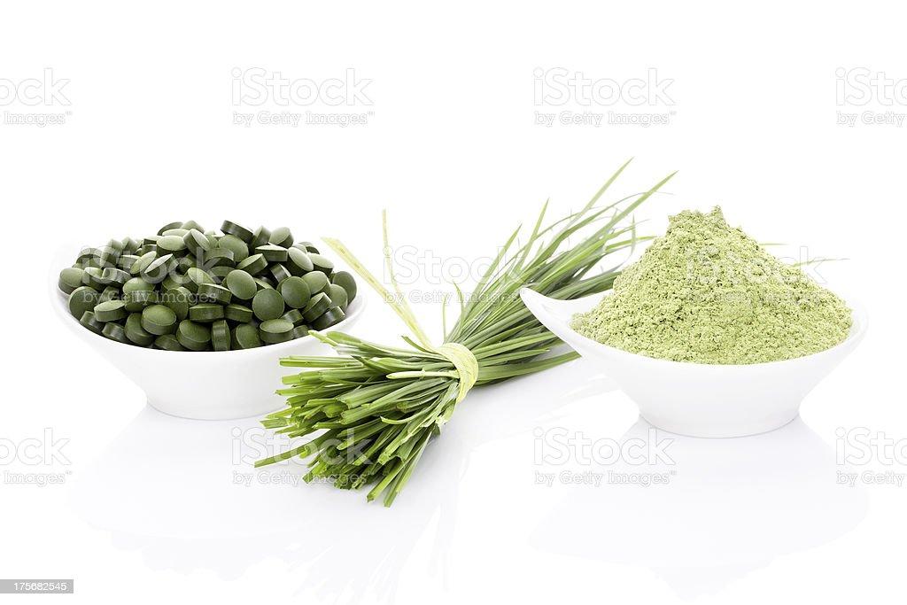 Wheatgrass, chlorella and spirulina. royalty-free stock photo