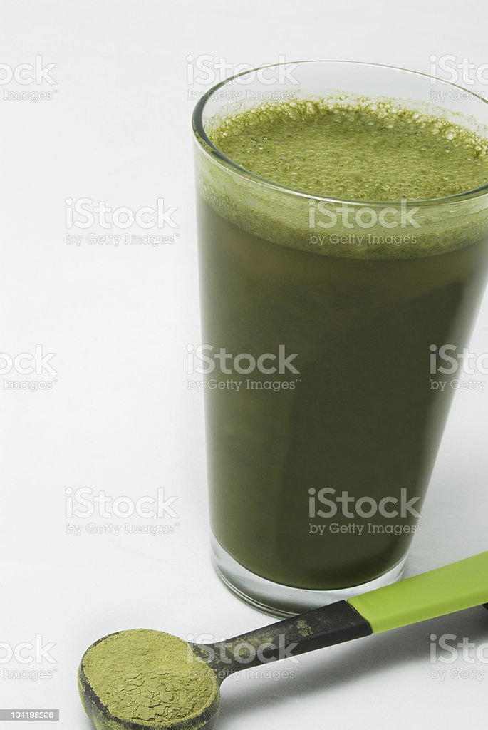 Wheatgrass or Barley Grass Drink royalty-free stock photo