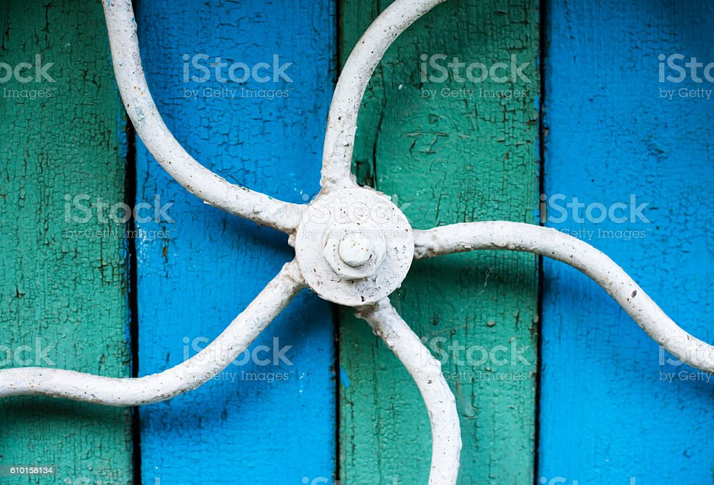 Wheel and axle machine on the water well. stock photo