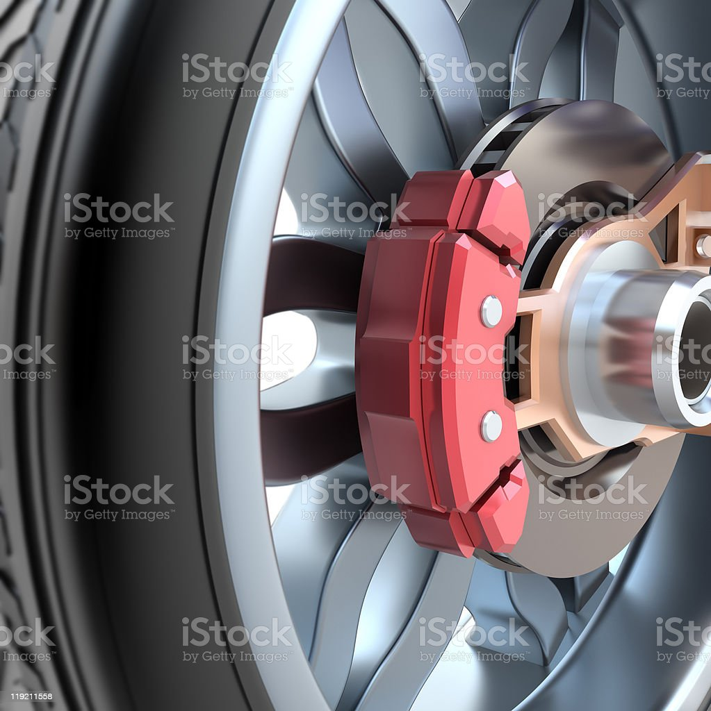 Wheel and brake pads stock photo