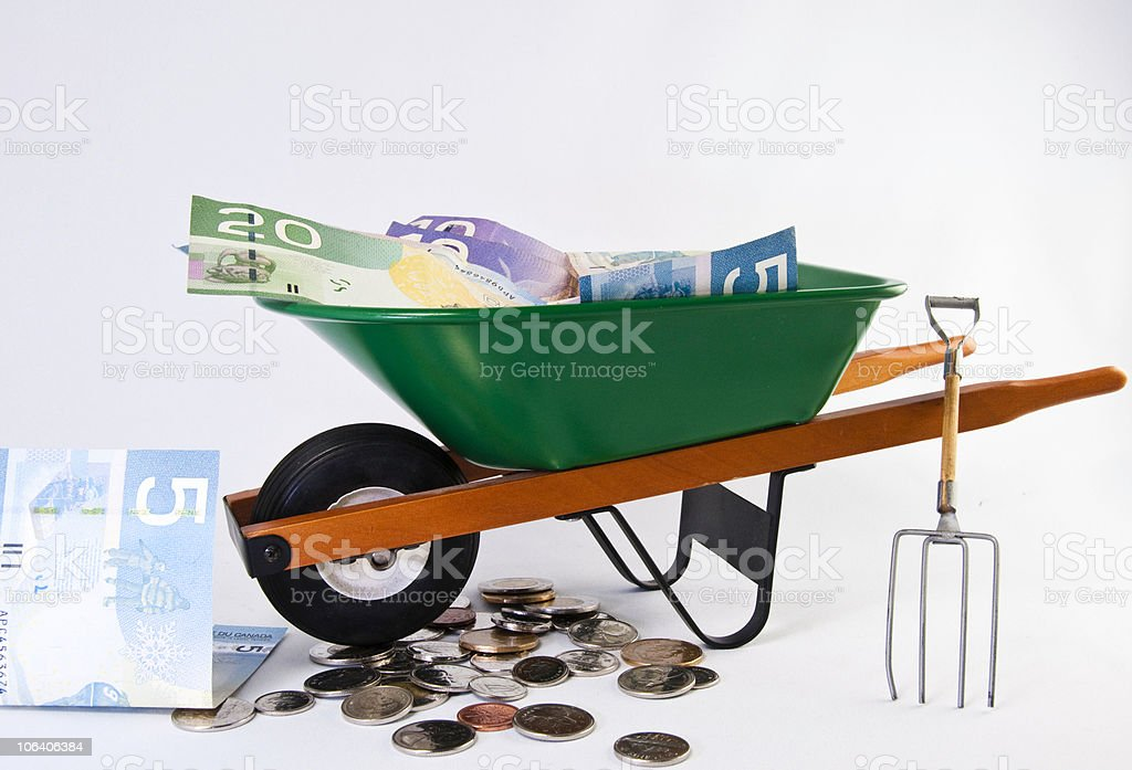 Wheel and canadian dollars royalty-free stock photo