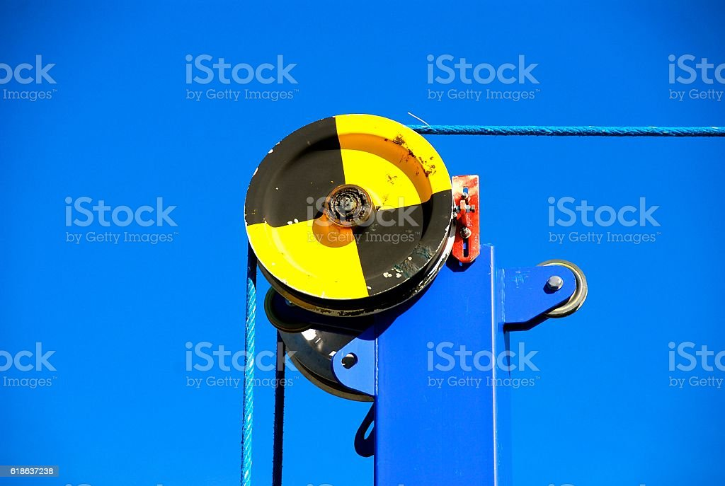 Wheel and Pulley System stock photo