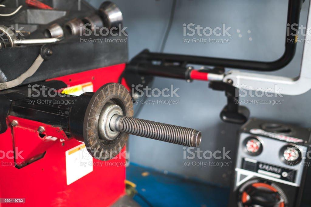 wheel balancing machine stock photo