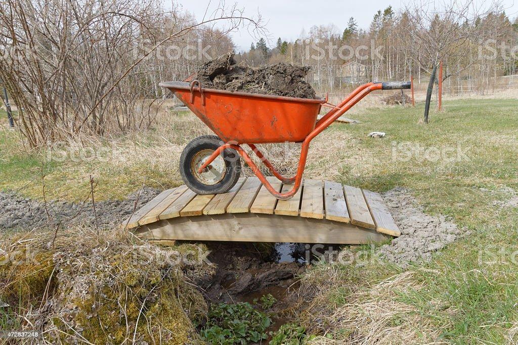 Wheel barrow full of mud stock photo