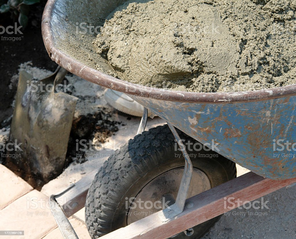 Wheel Barrow with cement royalty-free stock photo