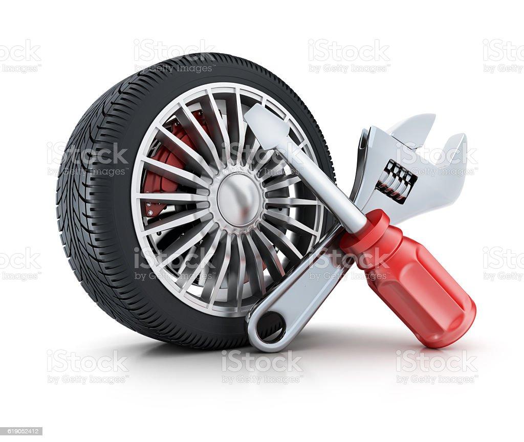 Wheel car and repair symbol tools stock photo