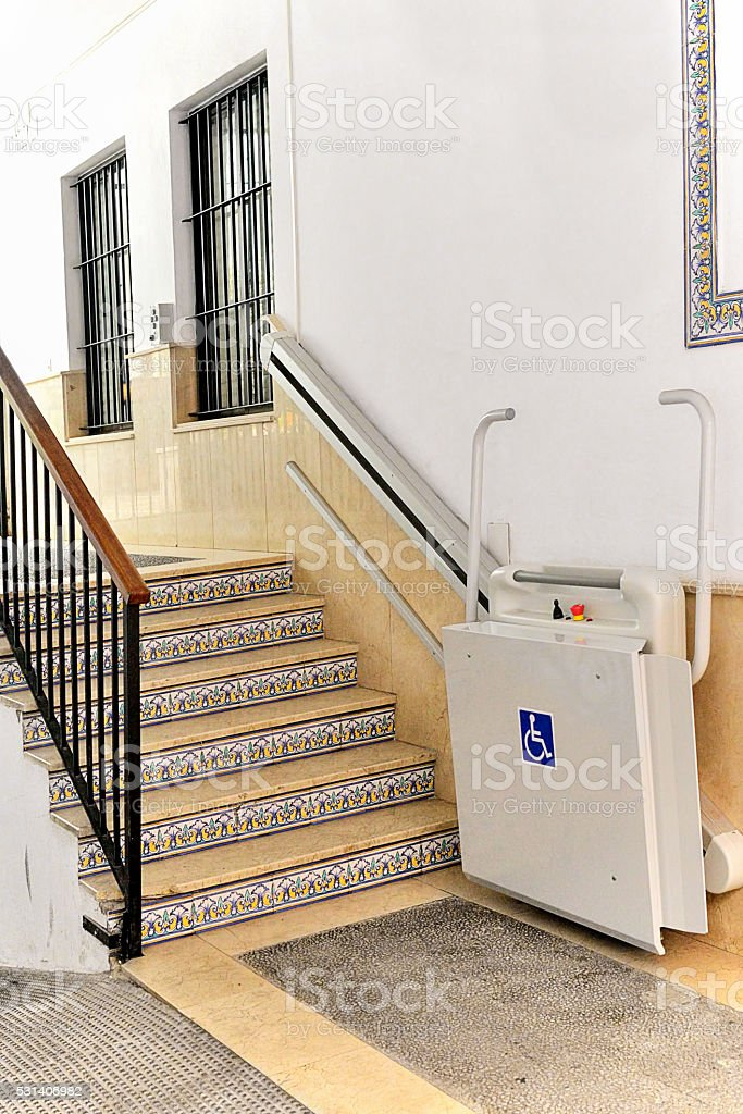 Wheel chair elevator stock photo