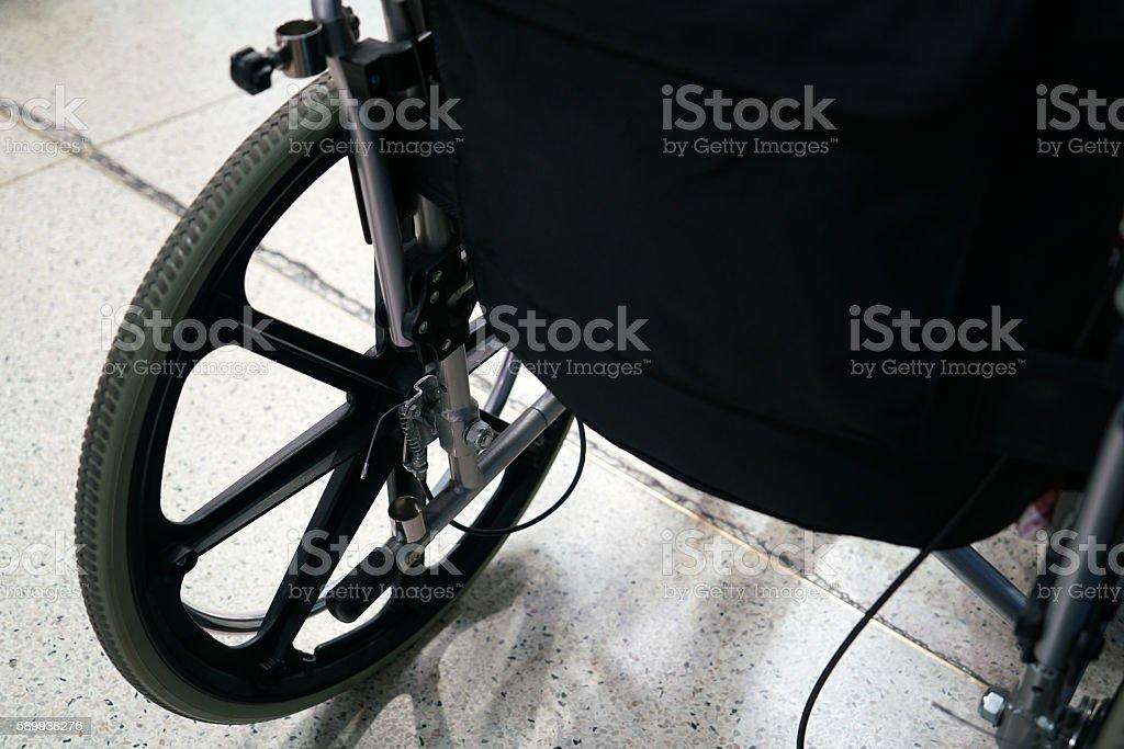 wheel chair in hospital stock photo