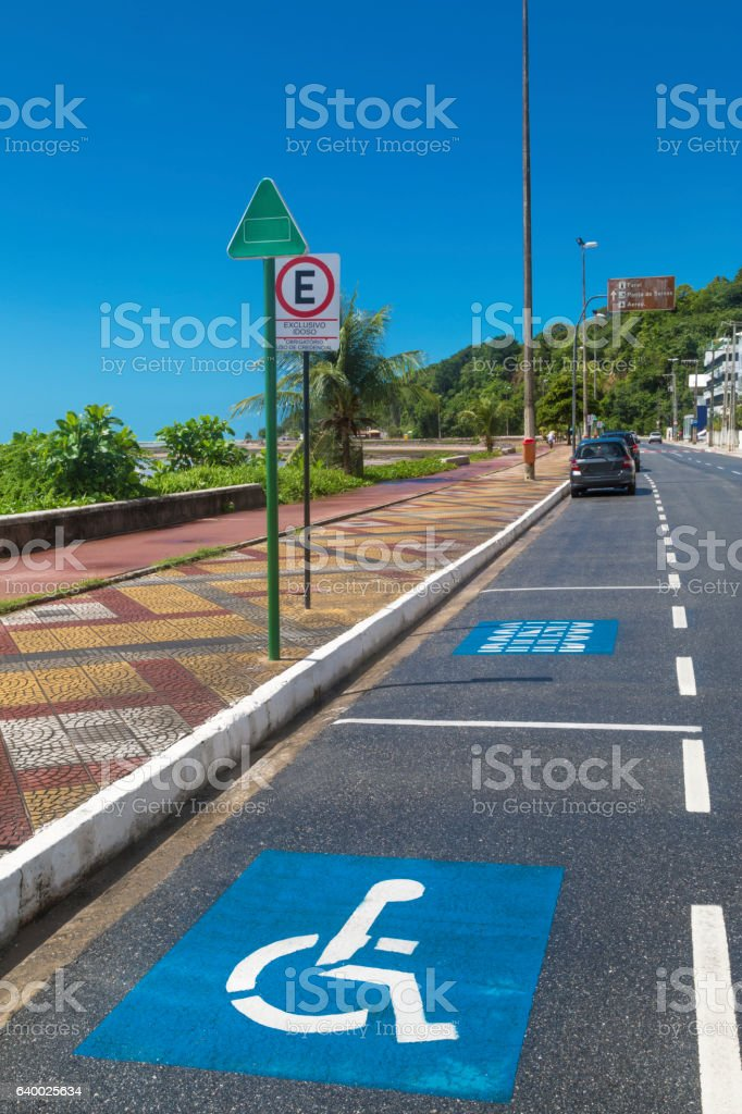 Wheel chair parking space stock photo