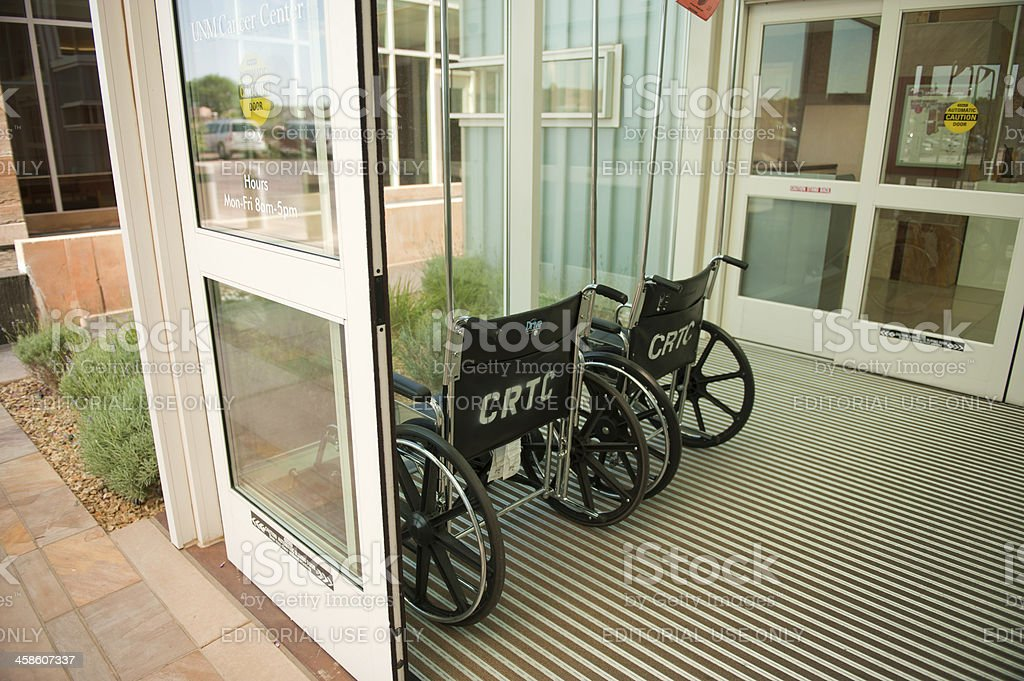 Wheel Chairs at the Entrance of Hospital royalty-free stock photo