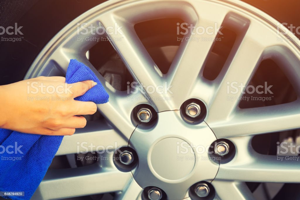 Wheel Cleaning stock photo