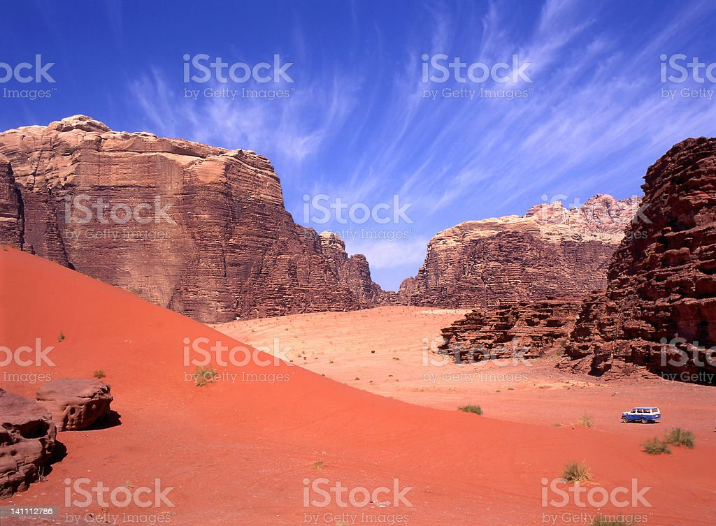 4 wheel drive in Wadi Rum desert, Jordan stock photo