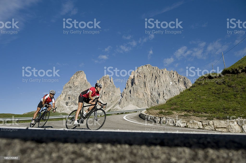 wheel driver enjoys the departure in Dolomites south Tyrol stock photo