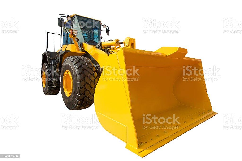 Wheel Loader excavator construction machinery equipment isolated stock photo