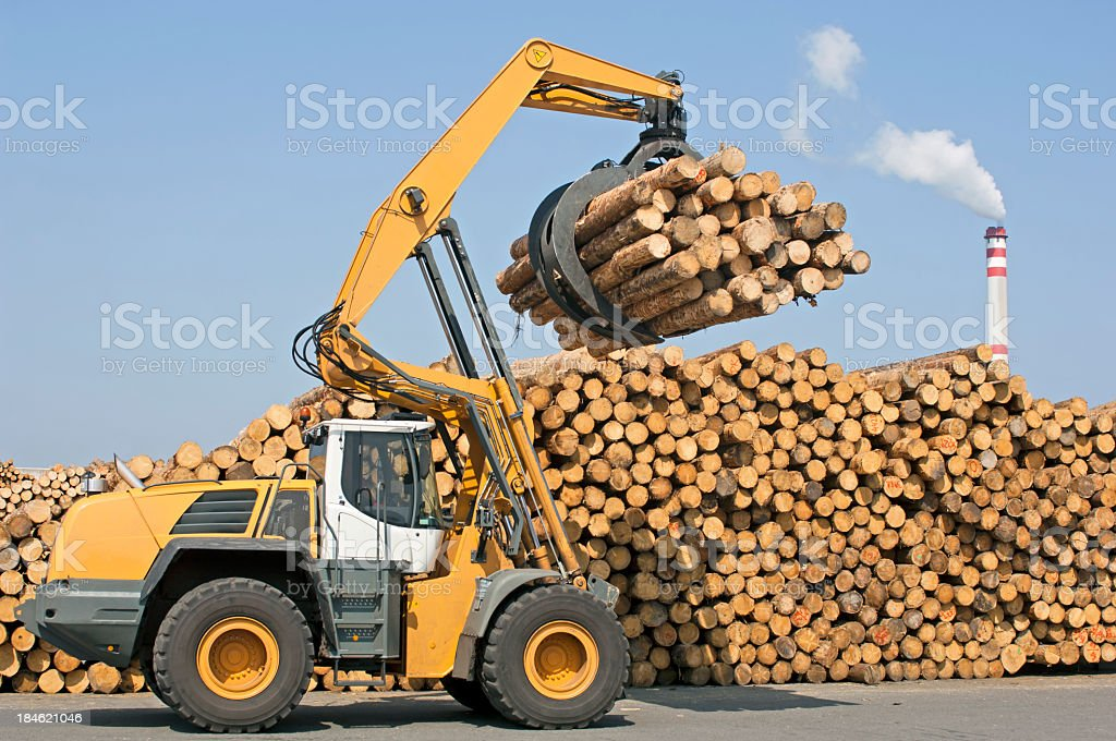 Wheel loader - Lumber industry stock photo