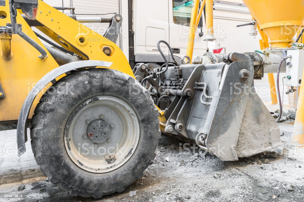 Wheel loader on a construction site stock photo