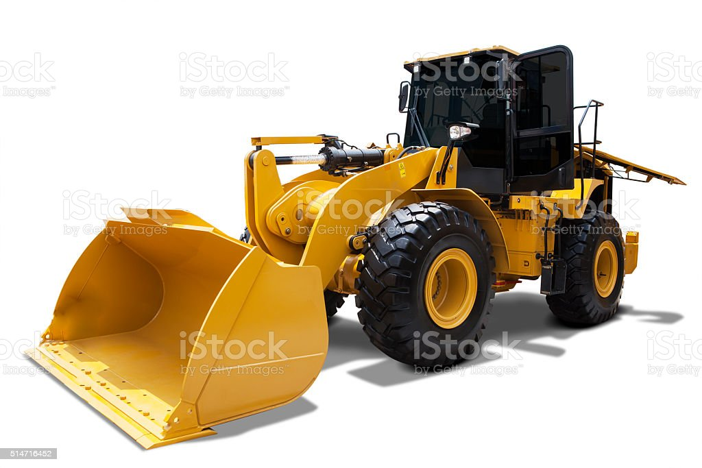 Wheel loader with a steel shovel stock photo