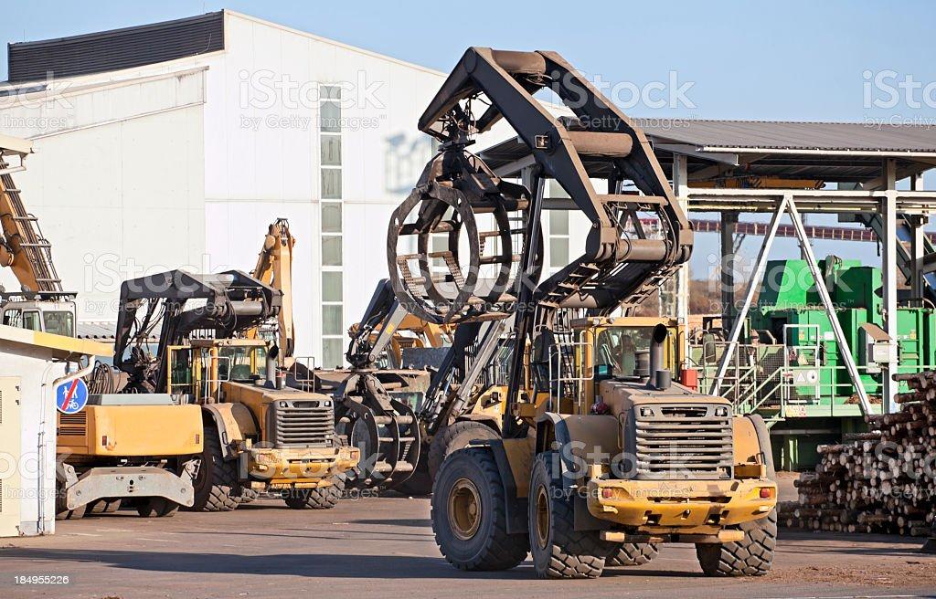 Wheel loaders - Lumber industry stock photo