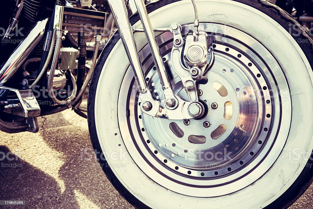 Wheel of a Motorcycle stock photo