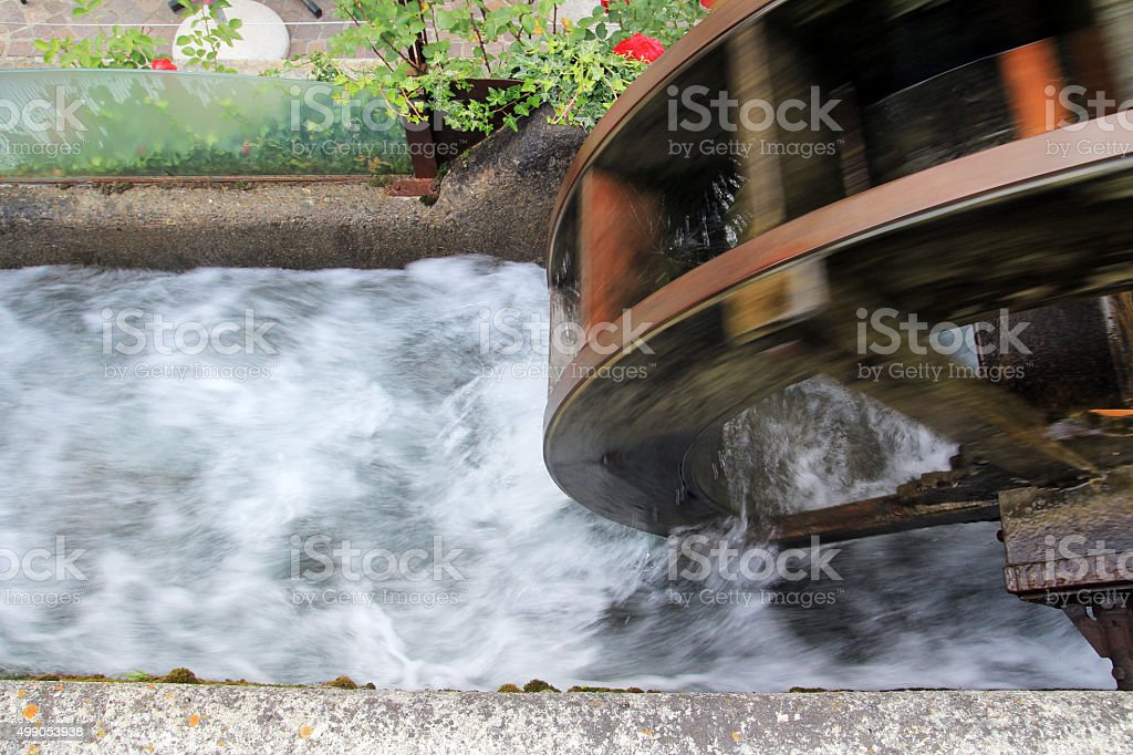 wheel of a water mill in South Tyrol stock photo
