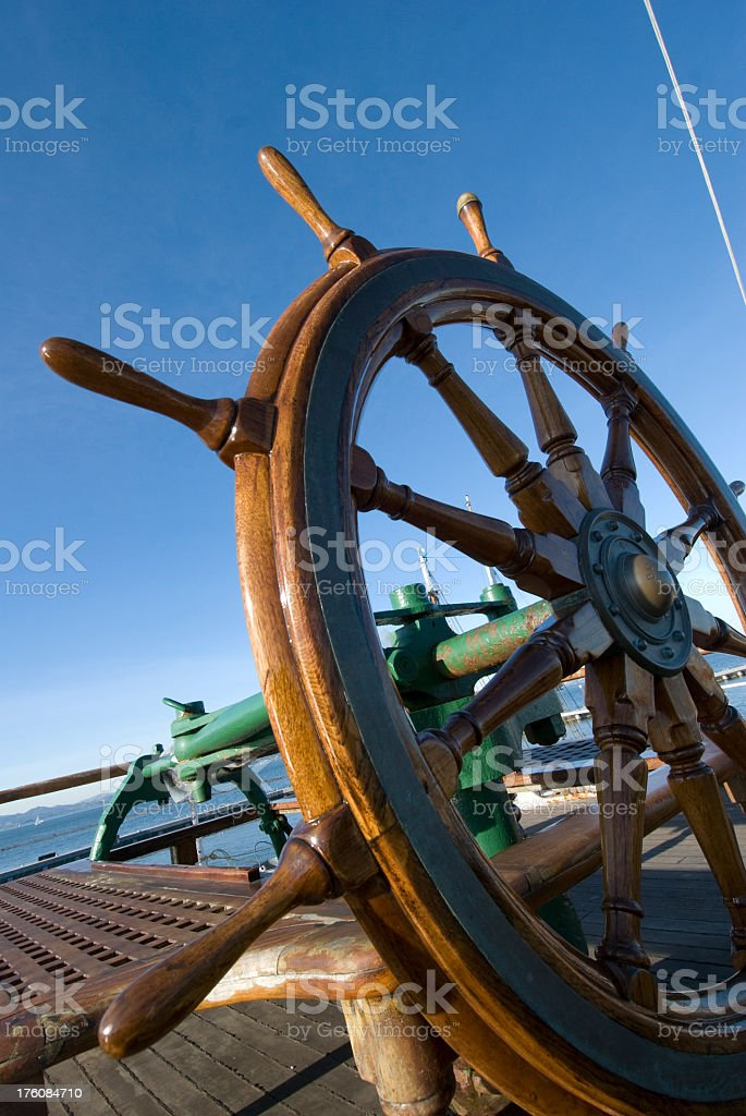 wheel of a wooden boat royalty-free stock photo