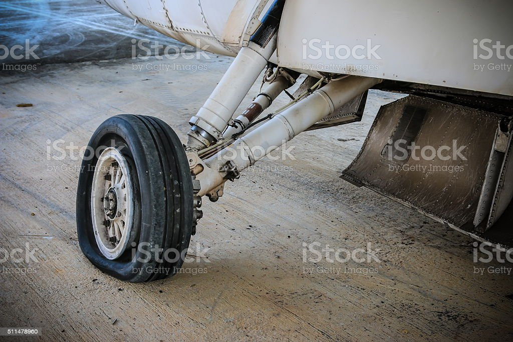 Wheel of airplane stock photo