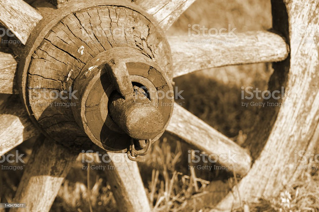 wheel of an old waggon stock photo